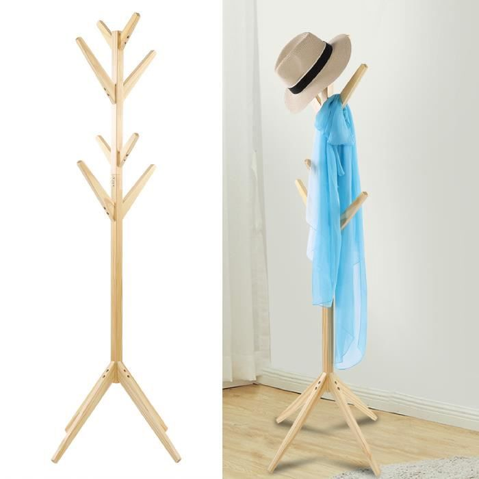 Porte-manteau sur Pied en forme d'arbre - 8 crochets - Porte-manteaux en bois - CYA