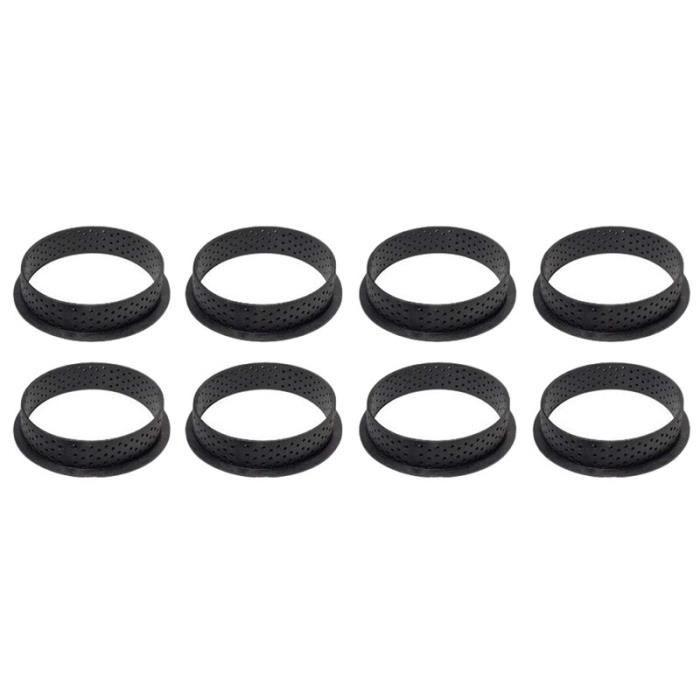 Lots de moules et plats à four,8 pièces perforées gâteau Pan Cutter rond forme mousse cercle anneau décoration - Type Black #R