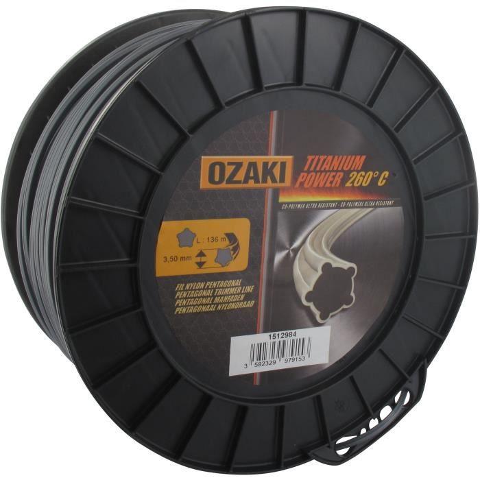 Bobine fil OZAKI TITANIUM POWER 3,5mm X 136m Profil pentagonal, co-polymère haute résistance