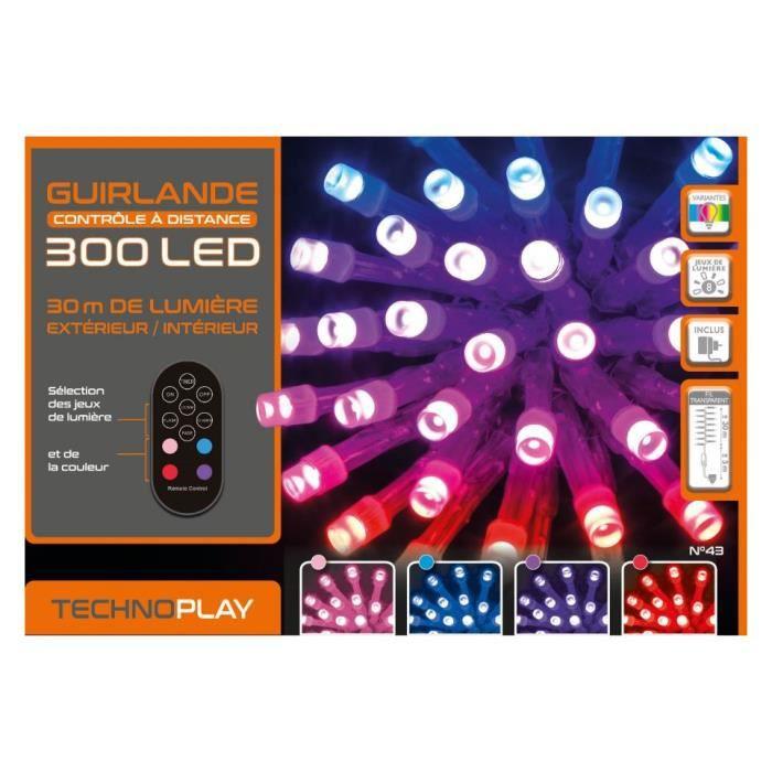 GUIRLANDE LUM EXTERIEUR 30 M 300 LED TELECOMMANDEE