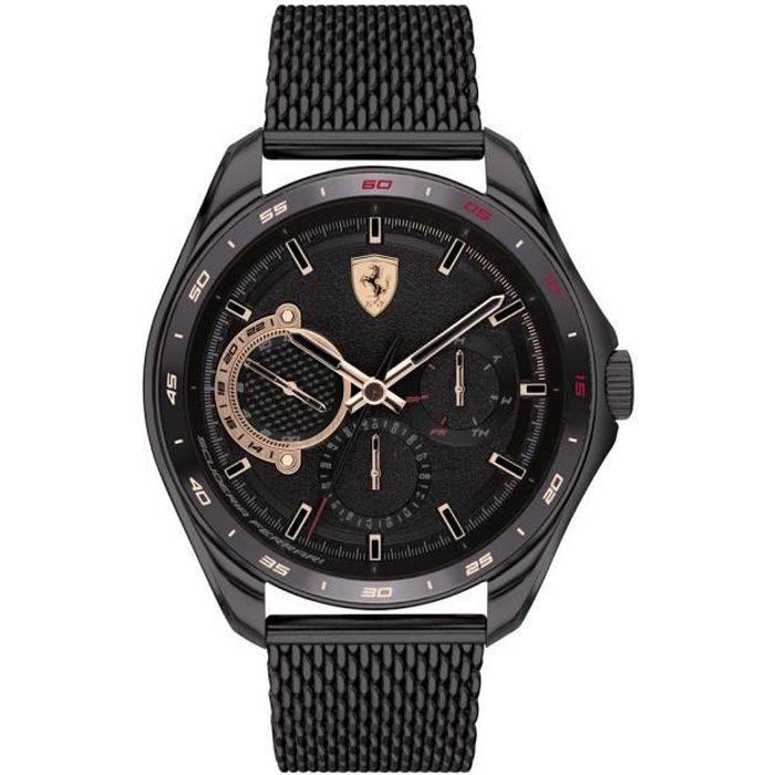 Ferrari - Montre Hommes - Quartz Multi-Cadrans - Bracelet Acier inoxydable Noir - 0830686