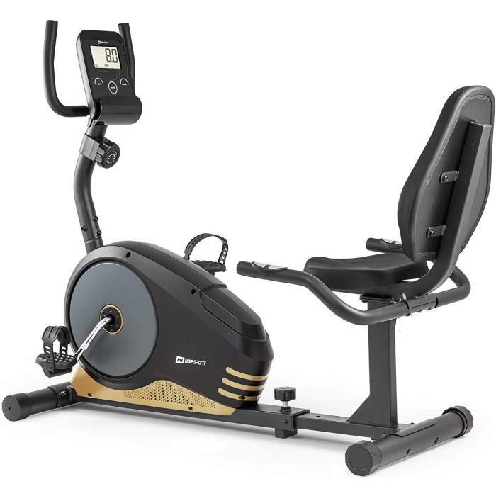 HS HOP-SPORT Vélo d'Appartement semi-allongé HS-040L Root (Doré) - Résistance réglable sur 8 Niveaux - Max 120 kg