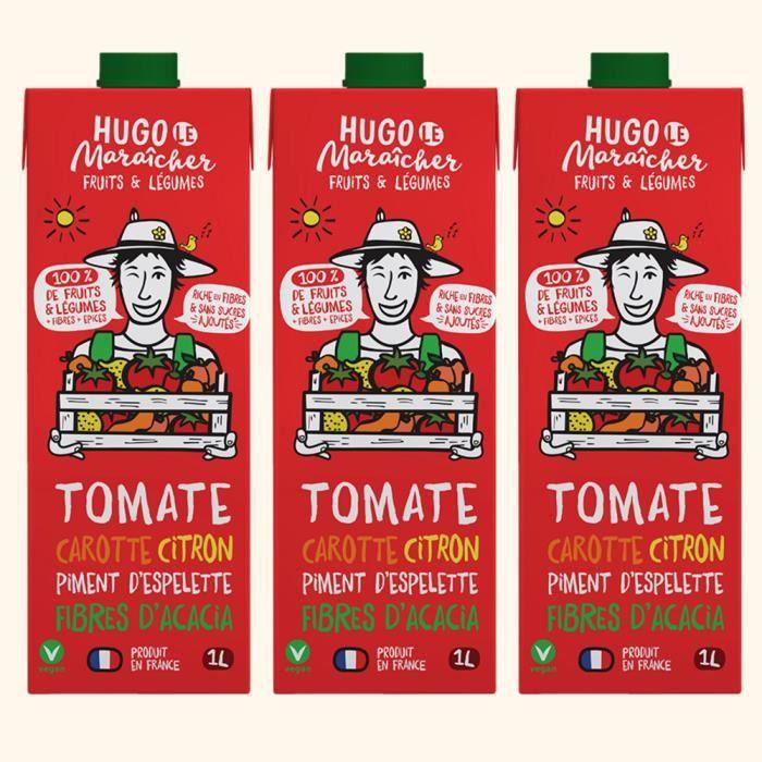 Hugo Le Maraîcher - Jus de Fruits et Légumes Tomate Carotte 1L - Pack de 3
