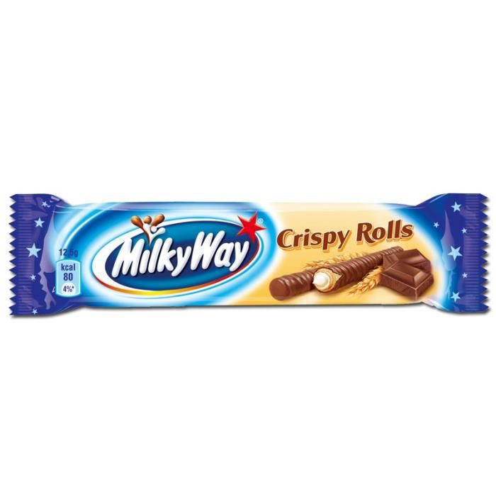 Milky Way Crispy Rolls, bars de chocolat, 24 barres