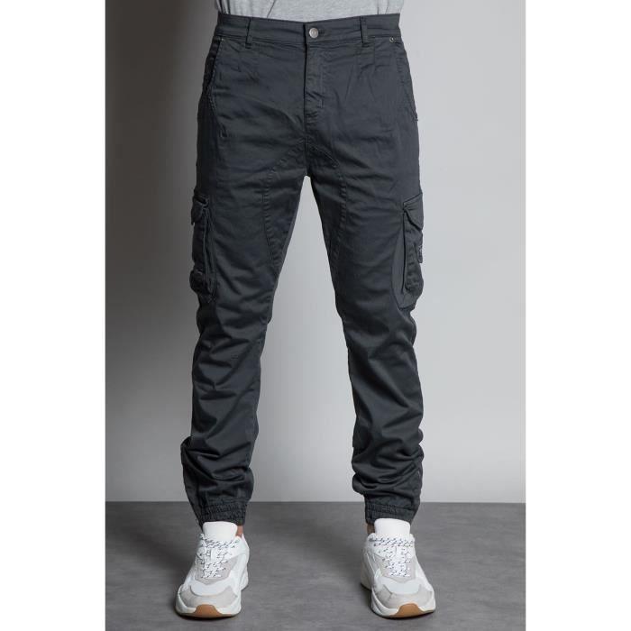 DEELUXE Pantalon cargo slim GARDEN Charcoal