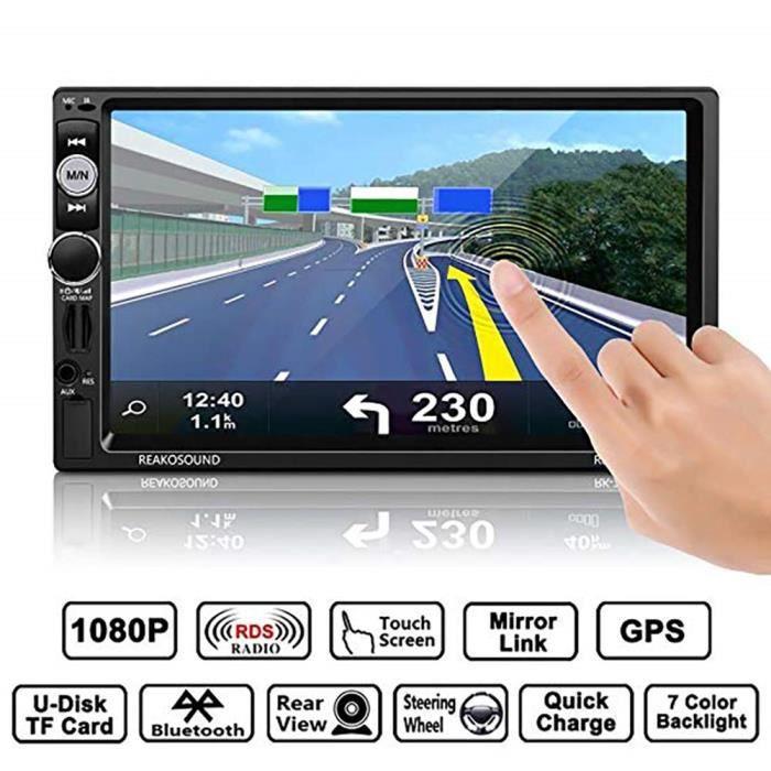 Autoradio MP5 Navigation GPS 1080P à 7- écran tactile voiture stéréo MP5 FM - TF - USB multimédia de voiture + caméra de recul