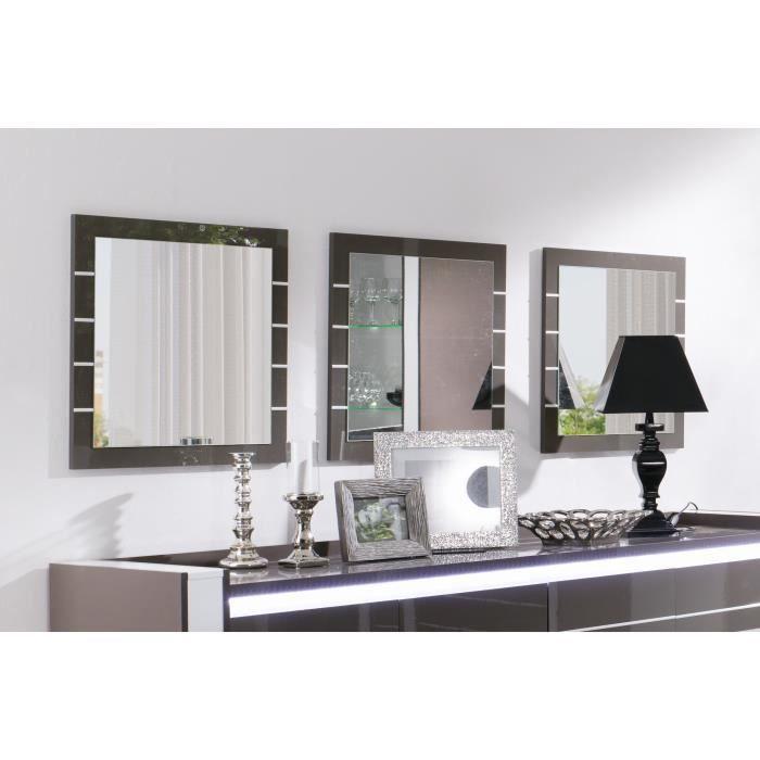 Miroirs design LINA. Lot de 3 pièces idéal pour embellir votre salon. Coloris gris et blanc brillant Gris