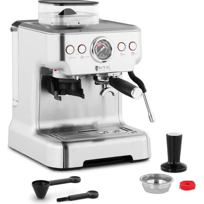 Machine à Café Expresso Cafetière Espresso Électrique Royal Catering RC-BCPM01 (1 450 W. 20 Bars. LCD. Filtre Simple. Filtre Double)