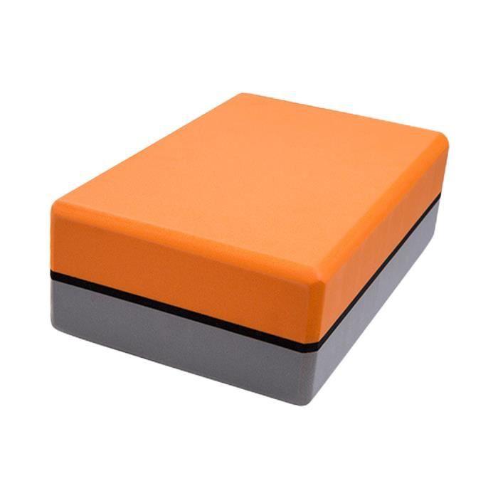 SURENHAP EVA Bloquer Brique de Yoga Bloc Mousse NonToxique Pilates 200g Orange + gris