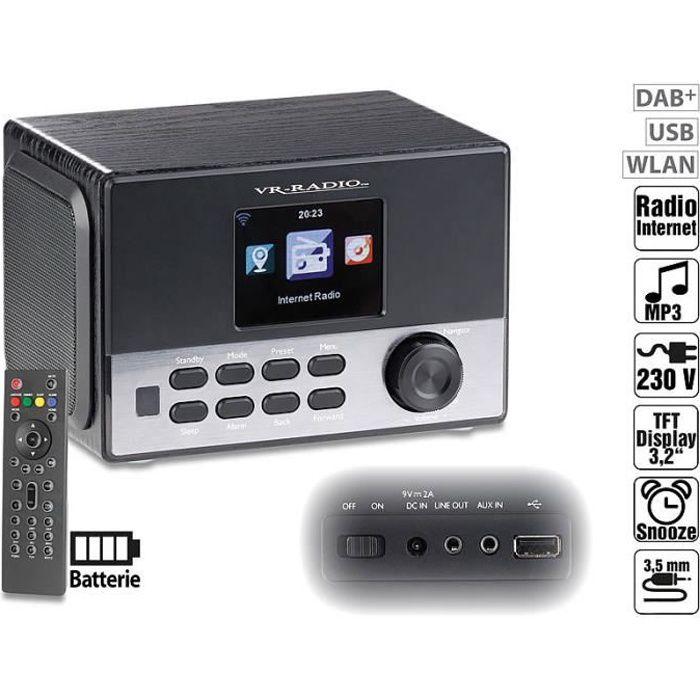Radio-réveil stéréo wifi Internet/FM/DAB+ avec fonction chargement USB