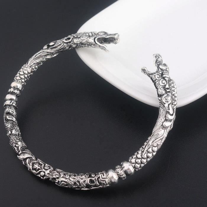 BRACELET - GOURMETTE Bracelet motif Viking loup double tête pour homme