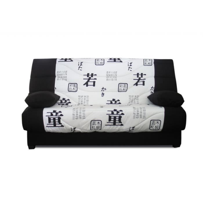 banquette clic clac 3 places marion motif japonisant noir achat vente clic clac cdiscount. Black Bedroom Furniture Sets. Home Design Ideas
