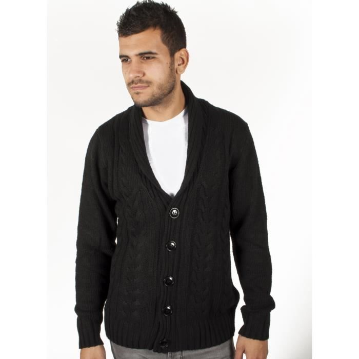 gilet noir grosse maille uni homme noir achat vente gilet cardigan cdiscount. Black Bedroom Furniture Sets. Home Design Ideas