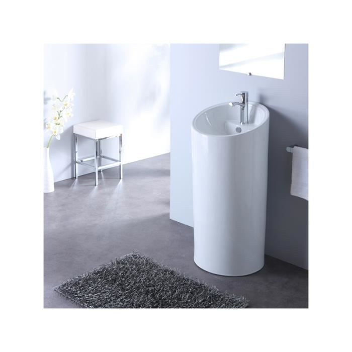 lavabo sur pied forme ronde blanc achat vente robinetterie sdb lavabo sur pied cdiscount. Black Bedroom Furniture Sets. Home Design Ideas