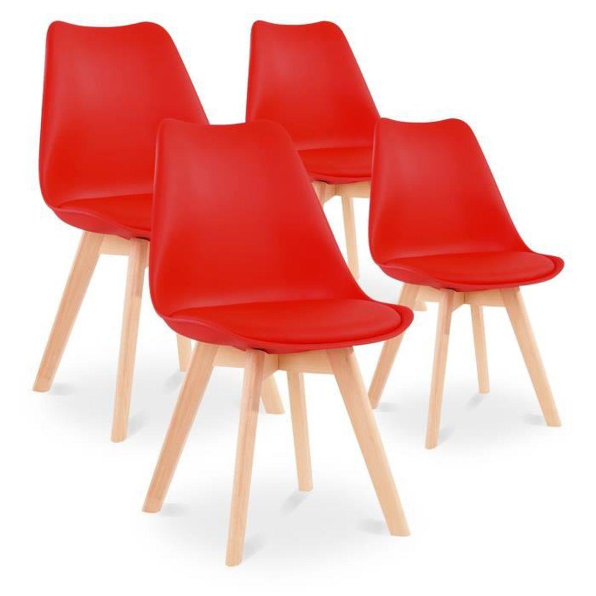 Lot de 6 chaises style scandinave Catherina Rouge - Achat / Vente