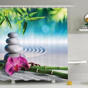 RIDEAU DE DOUCHE 180 x 180cm Rideau de douche Bambous pierres fleur