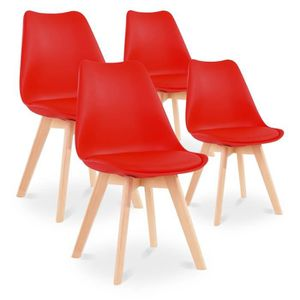 CHAISE Lot de 4 chaises style scandinave Catherina Rouge