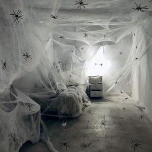 KIT DE DECORATION Toile d'araignée avec 100 Araignées Décoration d'h