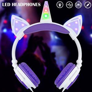 CASQUE - ÉCOUTEURS Casque enfans audio lumineuses à LED Licorne Oreil