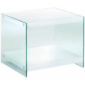 TABLE D'APPOINT Table d'appoint en MDF, verre trempé Coloris Bl…