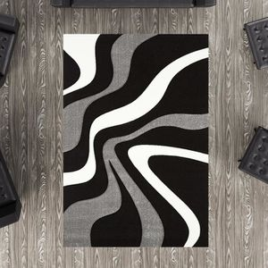 TAPIS Tapis DIAMOND VAGUES noir Tapis Moderne 60 x 110 c