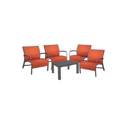 Linea Set Lounge 4 Fauteuils + Accoudoirs + 1 Table Alu ...