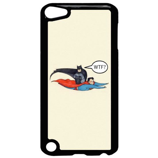 Coque Ipod Touch 5 Dessin Batman Superman Wtf Flat Design Ref