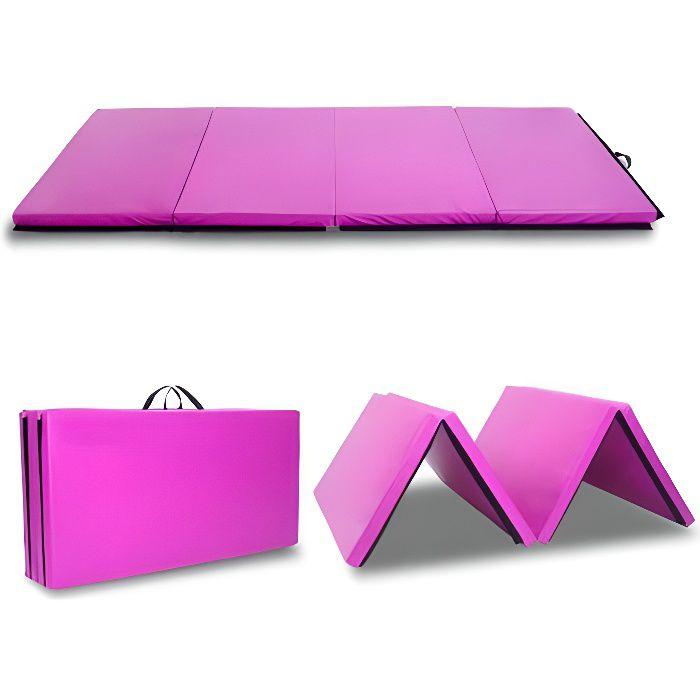Tapis de Gymnastique Pliable Tapis de yoga 240 x 120 X 5 cm Matelas de Fitness Portable Violet