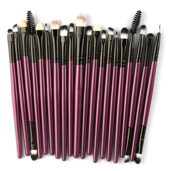 20 pcs - ensemble Maquillage Brosse Ensemble Outils Maquillage Trousse De Toilette Laine Maquillage Brosse Ensemble YJL80410770_BJT