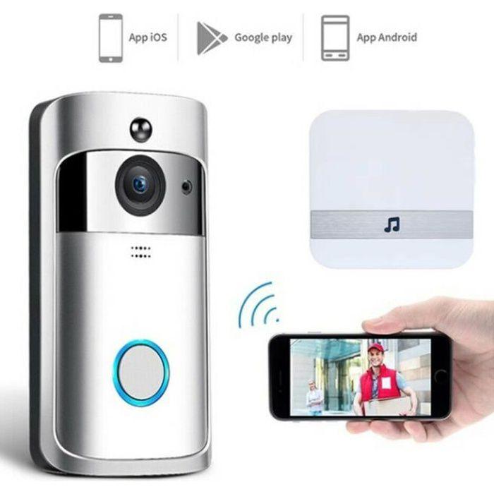Caméra de vision Visiophone nocturne IR avec interphone vidéo intelligent Wi-Fi sans fil avec carillon-Argent