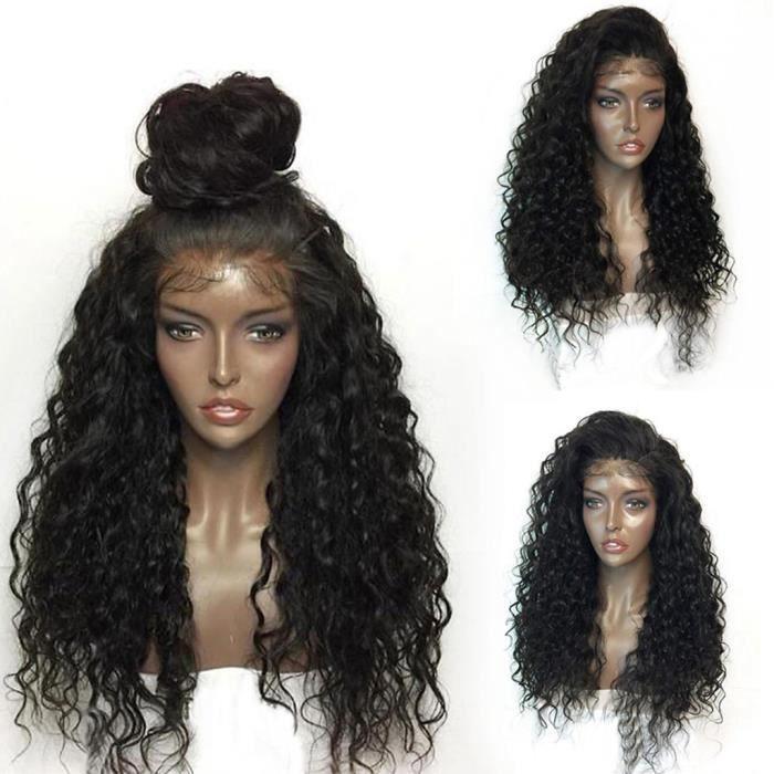 BOUCLES de perruque Perruques dentelle noire Femmes Mode avant de cheveux humaine dentelle 22 pouces perruque xuanaodo11215