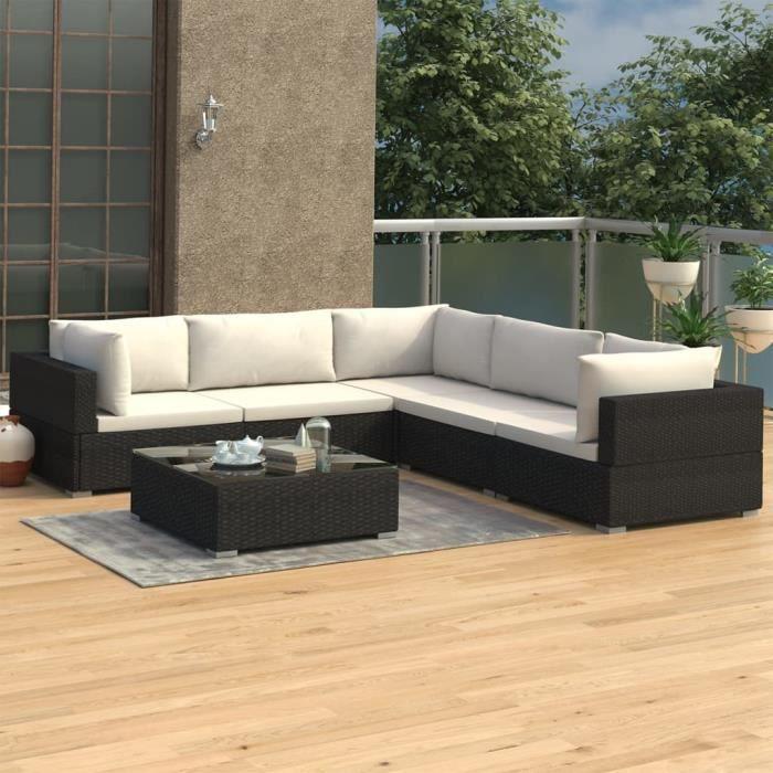 Salon de jardin 3 canapés d'angle 2 canapés de milieu 1 table basse avec coussins Résine tressée Noir♗81088