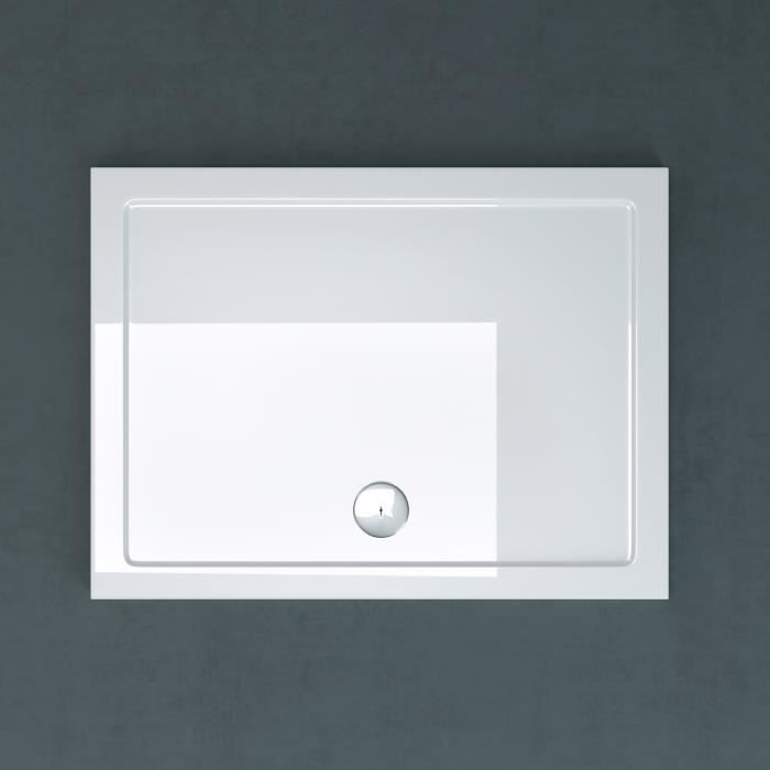 Receveur de douche bac à douche Sogood Faro02 acrylique plat blanc rectangulaire 80x100x4cm pour la salle de bain avec bonde AL01