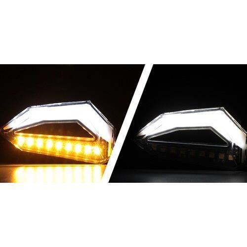 Universel Moto Clignotants Lumières Clignotant LED DRL Indicateur Clignotant Cafe Racer Éclairages Électrique Moto White -WM149