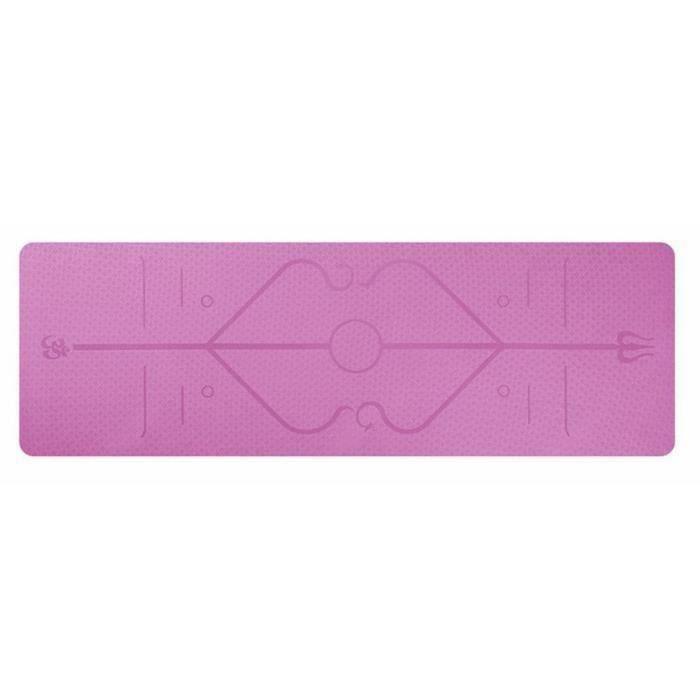Tapis Yoga -Tapis De Sport Fitness a La Maison -Tapis de Pilates,Poids léger,Antidérapant 183 * 61 * 0,6 cm rose