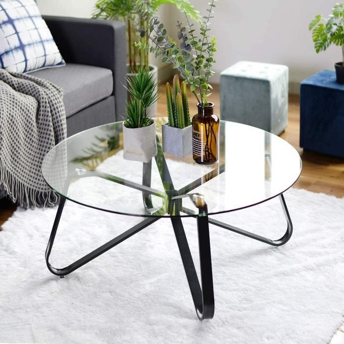 Table Basse en Verre Trempé,Table de Salon,Table de Canapé Minimaliste Moderne,Table D'appoint Ronde,avec Grand Plateau,Protect[92]