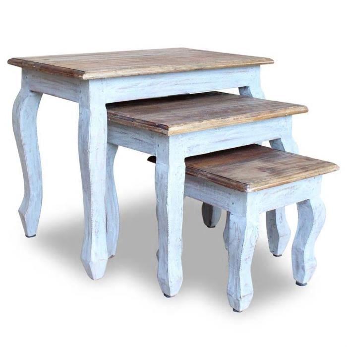 Bingo® Lot de 3 Tables gigognes Table basse Table d'appoint - Bois de récupération massif #814406