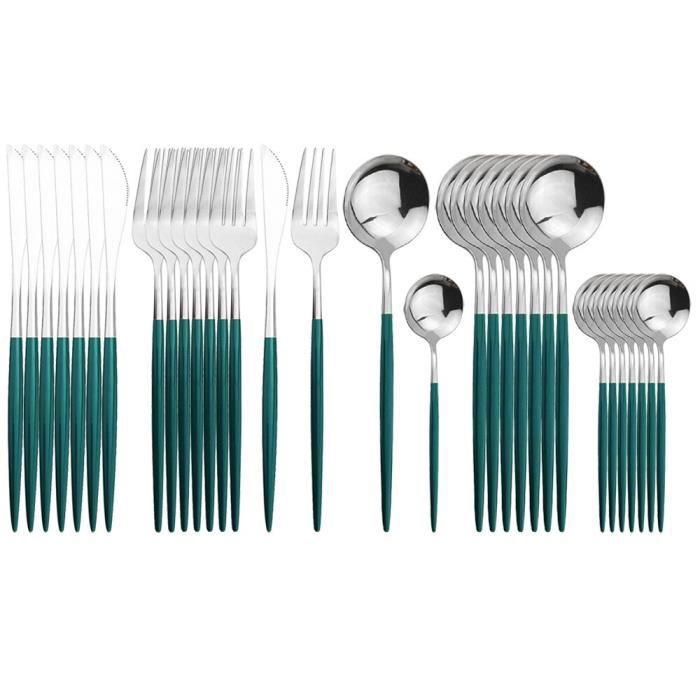 Services de table,32 pièces en acier inoxydable vaisselle rouge or ensemble de couverts couteaux fourchette - Type Green Silver
