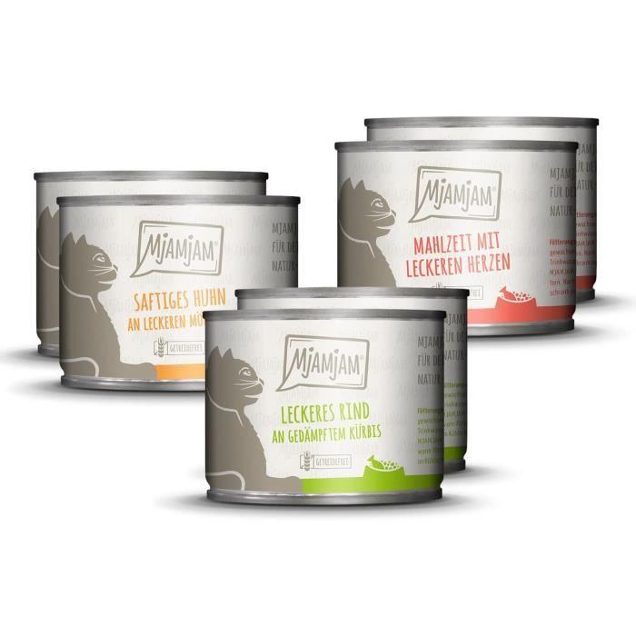 Nourriture humide premium pour chats - Mélange paquet 1 - Poulet, boeuf, coeurs, pack de 6 (6 x 200 g), sans céréales avec viande