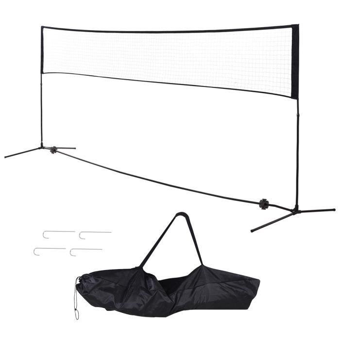 Filet de Badminton/loisirs 5 m - hauteur réglable 1,58 m max. - filet portable avec support pieds et piquets - sac de transport