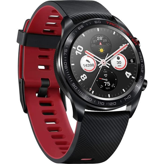 HONOR Watch Magic avec écran couleur AMOLED, surveillance de la fréquence cardiaque, étanche 5ATM et compatible NFC, noir de lave