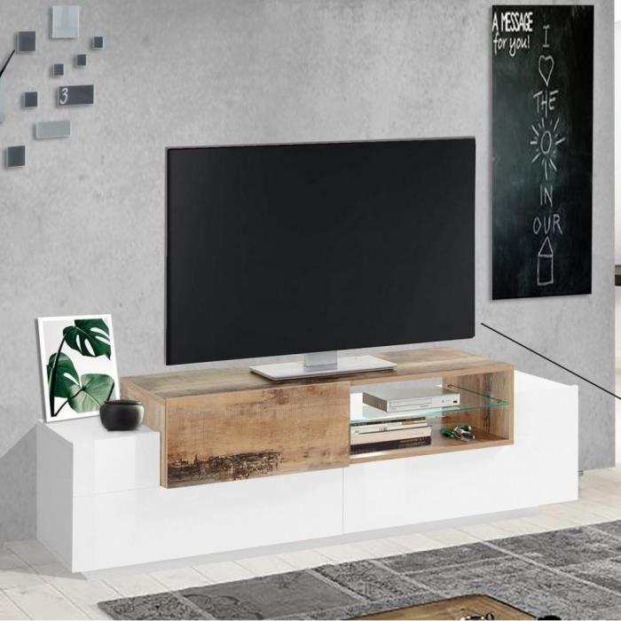 Meuble TV design CORO 160 cm finition blanc laqué brillant érable vintage blanc MDF Inside75