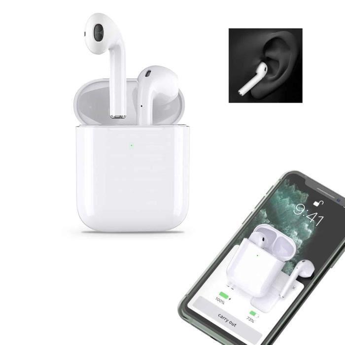 AiRpOds-Blanc-.W-Écouteurs Oreillettes Bluetooth Micro avec charge pour iPhone. Passez vos appels tout en gardant les mains libres,