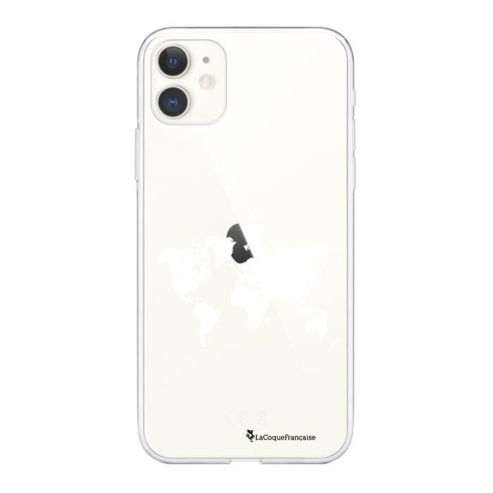 Coque 360 iPhone 11 360 intégrale transparente Carte du Monde Ecriture Tendance Design La Coque Francaise