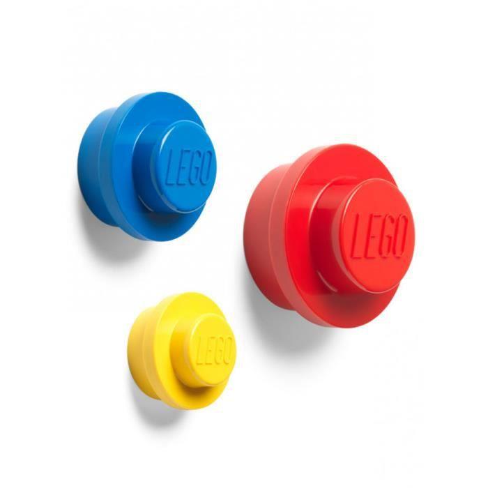 LEGO Ensemble de Crochets Muraux, Jaune, Bleu, Rouge, Petit, Moyen et Grand