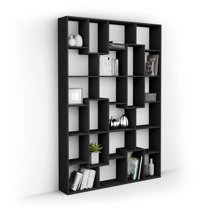 Mobili Fiver, Bibliothèque M Iacopo (160,8 x 236,4 cm), Frêne noir, Mélaminé, Made in Italy
