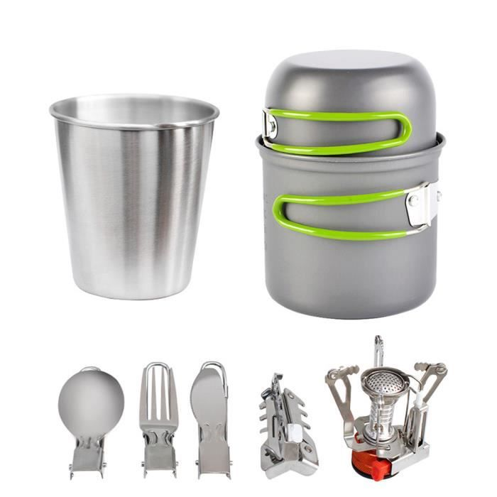 Batterie de cuisine Kit Camping Camping PotCooking Set Alpinisme Vaisselle Kit Ustensiles Backpacking