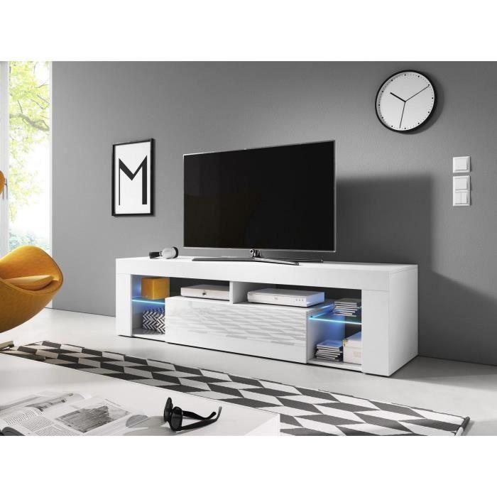 Meuble TV design MONTBLANC 160 cm, 1 porte et 2 niches, coloris blanc brillant + LED. L 160 X P 35 X H 55 cm Blanc