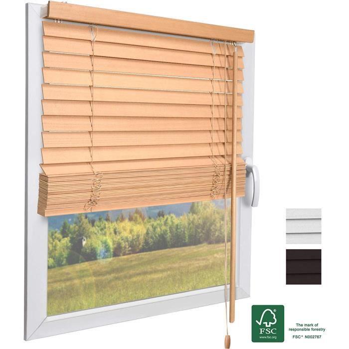 Sol Royal FSC Store vénitien en bois SolDecor JH3 - Aspect Chêne 140x160cm - Lamelles écologiques – Pour Fenêtres et Portes