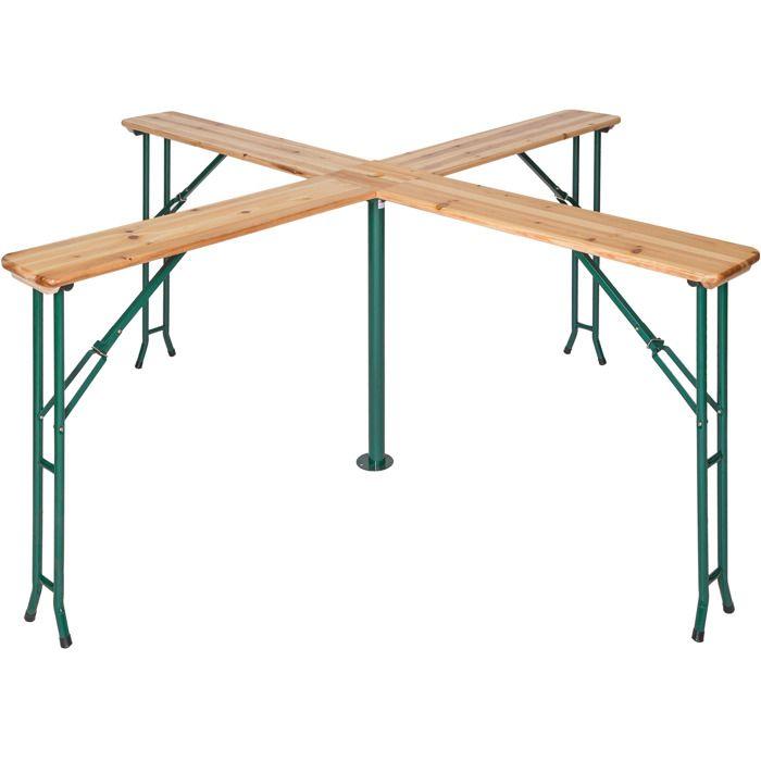 TECTAKE Table de Jardin de Réception Pliante Haute en Bois 241 cm x 241 cm x 103 cm Marron